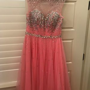 Tony Bowls Le Gala pink beaded gown